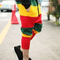 Men Fashion Rainbow Strip Casual Short Dancing Harem Loose Pant Cropped Trausers