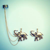 ear cuff with gold plated elephant earrings by alapopjewelry