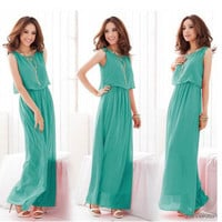 Long Ruffle Sleeveless Solid Casual Party Playsuit Clubwear Bodycon Boho Dress _ 9169