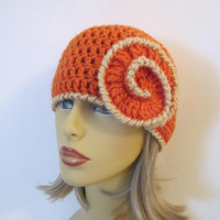 Orange and Tan Crochet Beanie Hat - Womens Flower Hat