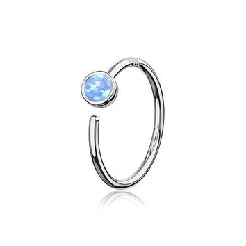 14 Karat White Gold Bezel Set Fire Opal Bendable Hoop Ring