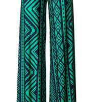 Inca Moon Palazzo Pants - Green and Navy