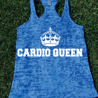 Cardio QueenBurnout Tank.Womens crossfit tank.Funny exercise tank.Running tank top. Bootcamp tank.Sexy Gym Clothing