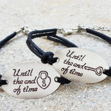 Engraved Couples Bracelet 004:  To the End of Time Matching Bracelet Set, His Hers Bracelets, Boyfriend Girlfriend Jewelry, Anniversary Gift