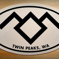 Twin Peaks Stickers, in the Black Lodge. 4x3 oval sticker with Twin Peaks, WA and Black Lodge symbol.