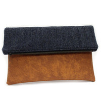 Navy Blue Foldover Clutch Bag, Wool Leather Clutch, Vegan Handbag,Navy Foldover Zip Clutch,Herringbone Bag,Casual Hand Bag,Large Fold Clutch