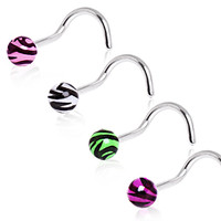 316L Surgical Steel Screw Nose Ring with UV Zebra Print Ball