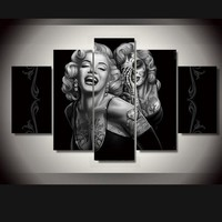 Home Wall Decor 5 Panel Marilyn Monroe Canvas Painting Wall Art Pictures Movie Poster Painting Personalized Gift No Frame