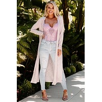 Breezy Sunsets Knit Duster Cardigan (Lilac)