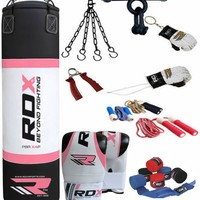 RDX 9 Piece Boxing Set 5FT 4FT Filled Heavy Punch Bag,Gloves,Bracket MMA Stand P