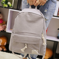 Fresh partysu style candy color design canvas simple women backpack middle school student book bag leisure backpack