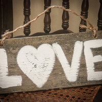Wooden Love Sign Rustic home decor outdoor wedding prop rustic beach sign anniversary gift engagement gift country wedding vintage wedding