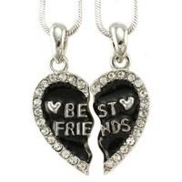 Best Friends Forever BFF Black Heart Pendant Necklace Engraved Letters