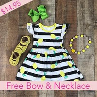 RTS Girl Dresses Cute Summer Lemon Dress *Free Bow and Chunky Necklace D5