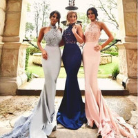Navy Silver Pink Satin Lace Applique Halter Long Mermaid Bridesmaid Dresses  Maid Of Honor Dress For Wedding Party Dress BE64