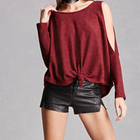 Marled Open-Shoulder Top