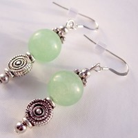 Aventurine Disk Drop Earrings Green and Silver