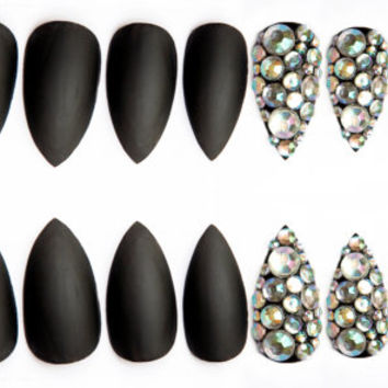 Classic Black w/ Rhinestone Accent Fake Nails, Black w/ crystal gems nail art on coffin, stiletto or oval nails, 20 Press on nails