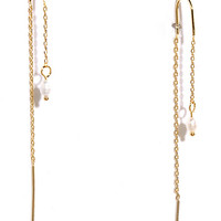 Sunup Gold and Pearl Threader Earrings