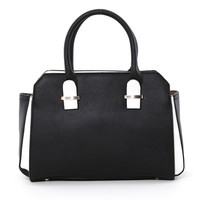 Two Tone Accented Satchel in Black