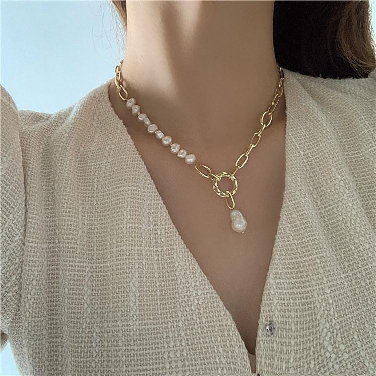 Image of Freshwater Pearl Adjustable Chokers Necklaces Steampunk Chunky Link Chain Pendant Necklace Elegant Accessories