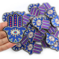1Pcs Hamsa Hand Patch Iron on Evil Eye