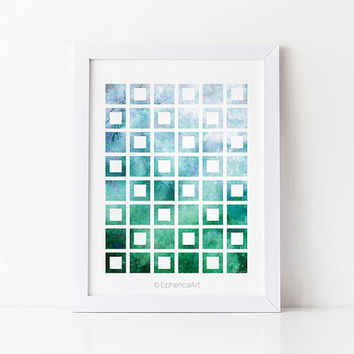 Blue Green Geometric art print, Printable art Colorful wall decor, Bathroom decor Abstract PRINTABLE wall art print Bedroom decor Wall print
