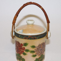 Oriental Style Pot, Preserve, Jam, Sauce, Peach, Gold, Wicker Handle, Chrysanthemum Pattern, Ceramic, Porcelain, Pot with Lid