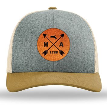 Massachusetts State Arrows - Leather Patch Trucker Hat