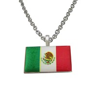 Mexico Flag Pendant Necklace