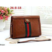 GUCCI tide brand female classic double G embossed chain bag shoulder bag brown