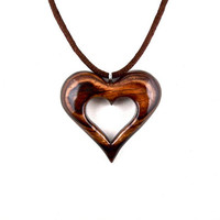 Wood Heart Pendant, Wooden Heart Necklace, Heart Necklace, Hand Carved Pendant, 5th Anniversary Gift, Wood Necklace, Heart Jewelry