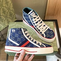 GG women's high-top double G letter canvas shoes