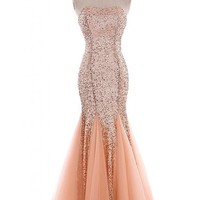 Angel Bride Shining Mermaid Sweetheart Paillette Tulle Evening Prom Dresses- US Size 4