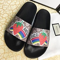 GUCCI New fashion strawberry rainbow more letter print flip flop slippers shoes