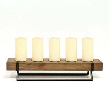 Wooden Candle Holders - Rustic 5 Candle Holder Centerpiece