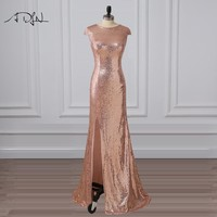 ADLN Sexy Slit Rose Gold Sequin Evening Dress Long Prom Dresses Scoop Cap Sleeve Mermaid Party Wear