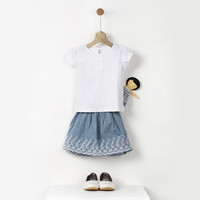 Embroidered Blue Skirt | Sustainable Fashion