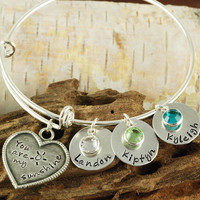 Silver Birthstone Bangle with Names & Birthstones - Charm Bracelet - Alex and Ani Inspired-1