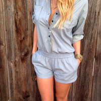 Gray Skies Romper - FINAL SALE
