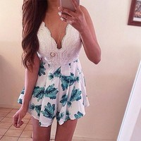 Sexy Backless Lace Patchwork Spaghetti Strap Print Pants Dress Romper [6315480641]