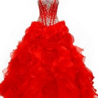 KC131525 Red Prom Ballgown by Kari Chang Couture