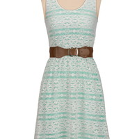 belted high-low open back lace dress