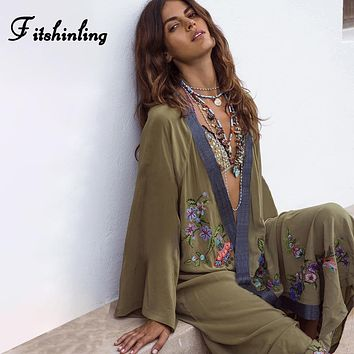 Indie Chill Flowers & Embroidery Kimono Cover-Up  in Army Green .