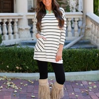 Heart and Soul 3/4 Sleeve Striped Tunic White