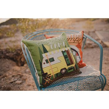 Happy Camper | Green | Pillow Cover | Camper Decorations | Throw Pillow | Vintage Camper | Camper Gifts | Camper Decor | Gift Ideas