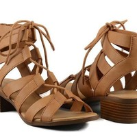 Strappy Lace Up Low Heel Sandal - Tan