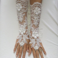 Free shipping white long lace beaded sequined scaly 3D flower wedding gloves bridal glove unique