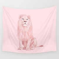 Lion in Pink Fabric Wall Tapestry