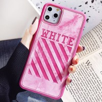Off White New fashion letter stripe print couple protective cover phone case
